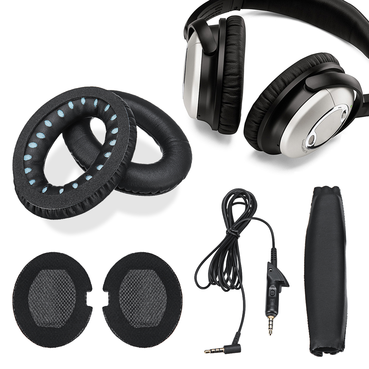 Replacement Ear Pads Headband Set 5.5 FT Audio Cable Ear Pad Cushions Ear Cups For Quiet Comfort QC15 Black