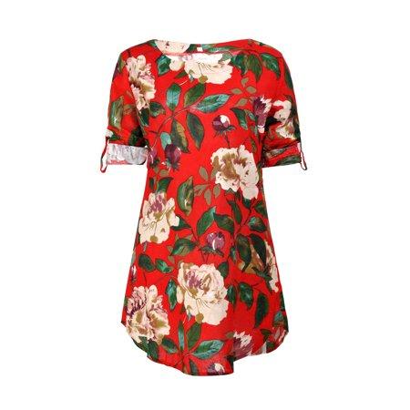 Plus Size Dress for Women Floral Print Mini Dress Loose Tunic Top Oversize Round Neck Summer Party Long Shirt Dress