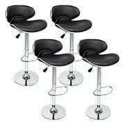 4 Pcs Black Modern Bar Stool Set Adjustable Hydraulic Swivel Chair Pub Counter
