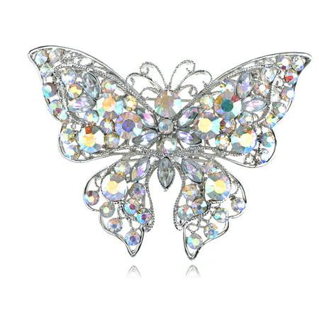 Aurora Borealis Rhinestone Brooch (Aurora Borealis Crystal Rhinestone Flutter Butterfly Custom Fashion Broach Pin )
