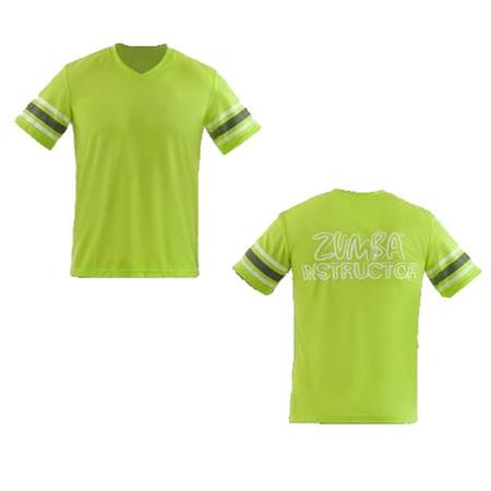 Zumba Fitness Men's Varsity Instructor V-Neck Tee Lime Punch XL (Varsity Tees)