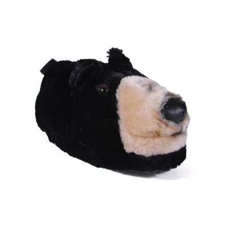 Happy Feet Mens and Womens Black Bear Animal Slippers (Bear Feet Shoes Clearance)