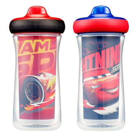 Disney-Pixar Cars Insulated Hard Spout Sippy Cups With One Piece Lid, 9 Oz, 2 (Cab 2 Piece)