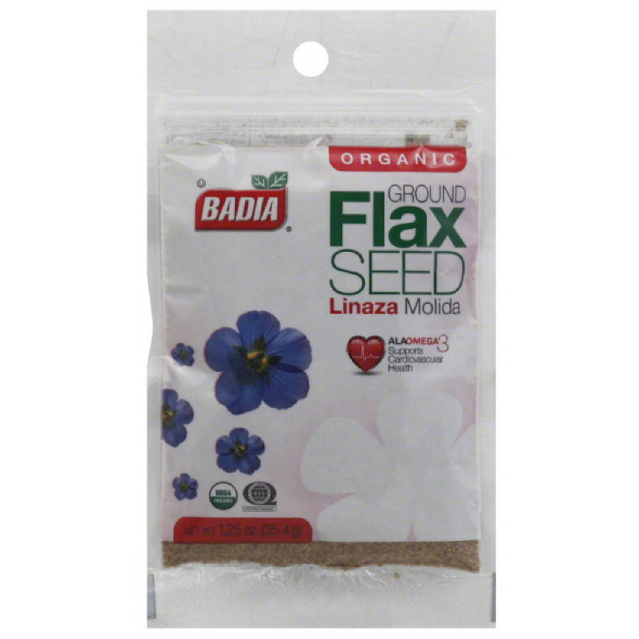 Badia Organic Ground Flax Seed, 1.25 oz, (Pack of 12)