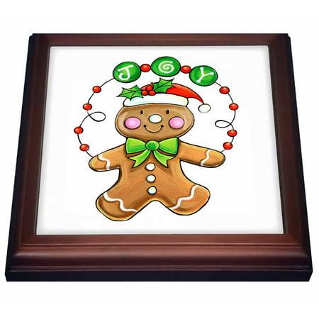 3dRose Joyful Gingerbread, Trivet with Ceramic Tile, 8 by 8-inch