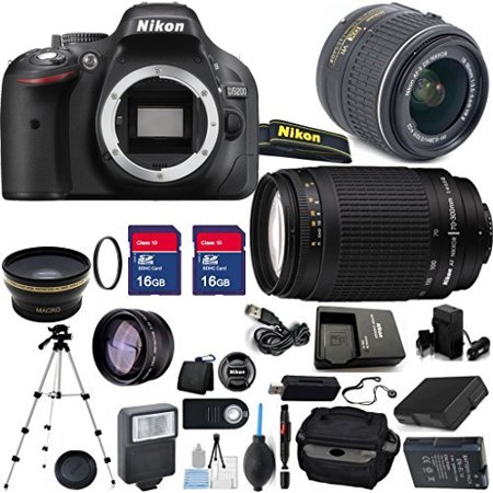 Nikon D5200 with 70-300 Nikon lens, 18-55mm Nikon lens, Camera Case, Charger, Extra battery, Flash, Full Size
