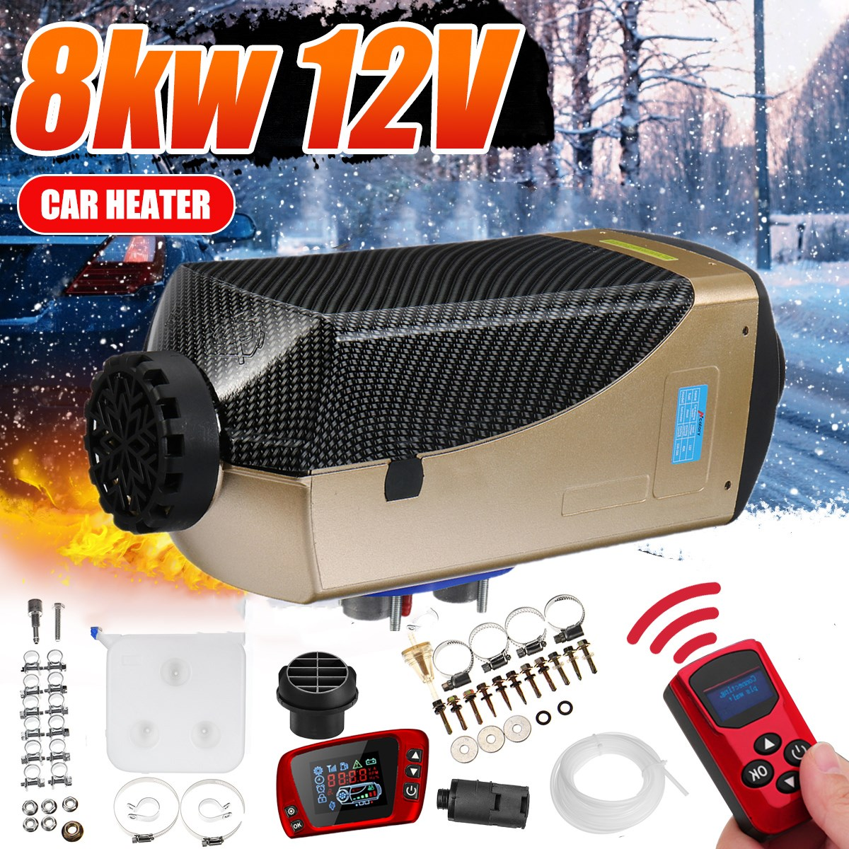 Trucks Engineering vehicles 8KW Diesel Air Heater 12V Diesel Parking Car Heater Automatic Control 10L Tank LCD Switch Silencer for Cars Buses