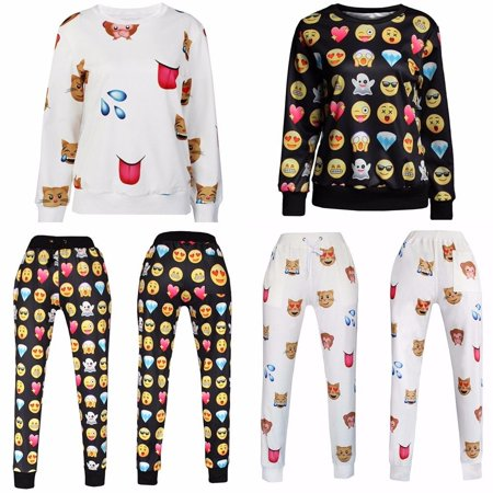 Men Women EMOJI Funny 3D Print Jogger Floral Top Suit Clothes Printed Performance Fleece