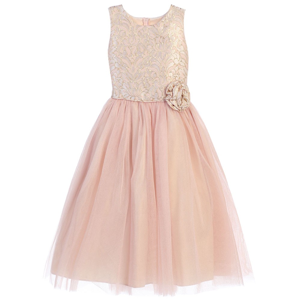 Sweet Kids Little Girls Pink Rosette Ornate Jacquard Tull...
