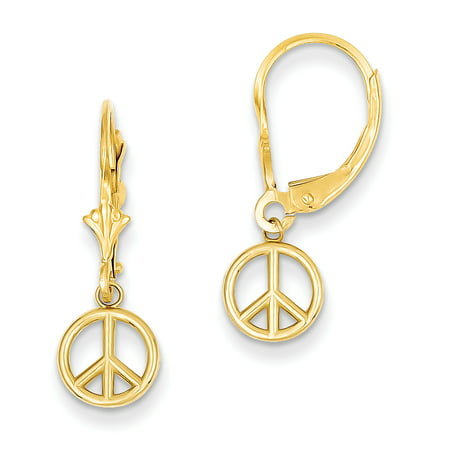 14kt Yellow Gold Peace Sign Drop Dangle Chandelier Leverback Earrings Lever Back Inspiration Fine Jewelry Ideal Gifts For Women Gift Set From Heart 14k Gold Leverback Cross Earrings
