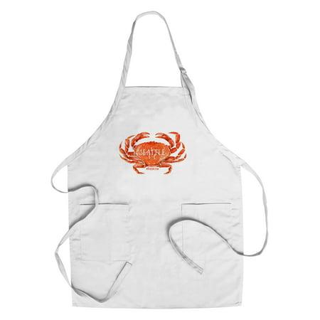 Seattle, Washington - Dungeness Crab - Watercolor - Lantern Press Artwork (Cotton/Polyester Chef's