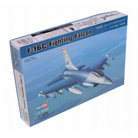 F-16C Fighting Falcon Airplane Model Building Kit, 2-piece canopy, wing pylons and 2 drop tanks By Hobby Boss