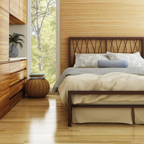 Amisco Ivy Full Size Metal Bed 54-inch Full Size in Medium Brown