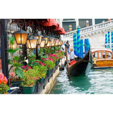Floral Shop (LED Lighted Floral Shop with Gondola Ride Canvas Wall Art 11.75