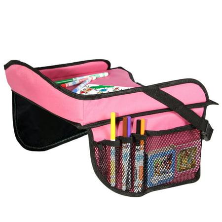 Toddler Car Seat Travel Tray with Storage Pocket Organizer - Pink ...