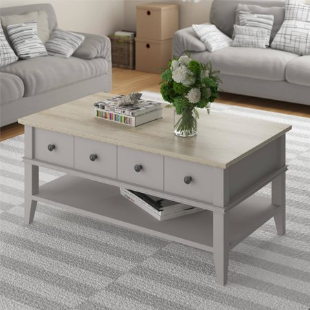 Ameriwood Home Newport Coffee Table Light Gray Light Brown