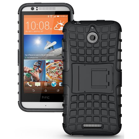 NAKEDCELLPHONE BLACK GRENADE GRIP RUGGED TPU SKIN HARD CASE COVER STAND FOR HTC DESIRE 510 PHONE (Boost Mobile, Sprint, Virgin Mobile, Cricket, Unlocked) ()