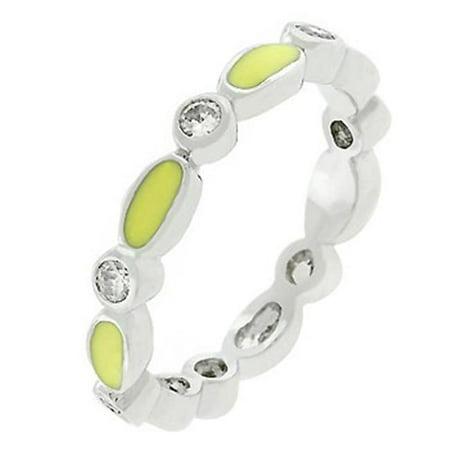 Link Enamel Stacker (Yellow Link Enamel Stacker Ring- Size- 09)