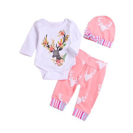 Newborn Christmas Baby Boy Girl Clothes Reindeer Long Sleeve Romper + Pants + Cute Hat 3pcs Outfit Set - Good Christmas Outfits