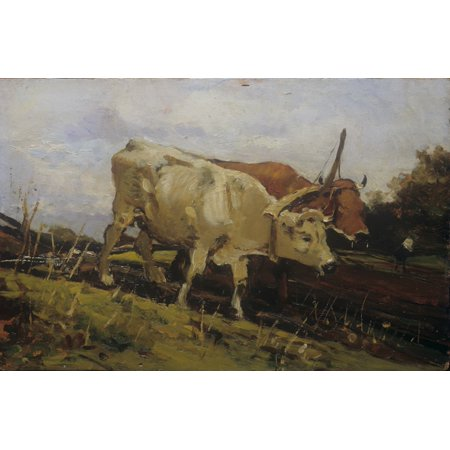 Plowing With Two Oxen (LAratura Con Due Buoi) Canvas Art - (24 x 18)
