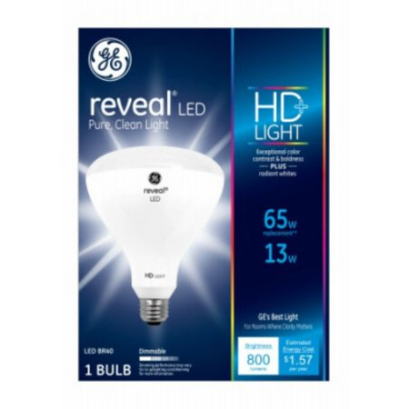 - (3 pack) GE LED Reveal BR40 Light Bulb, 13W (65W Equivalent)