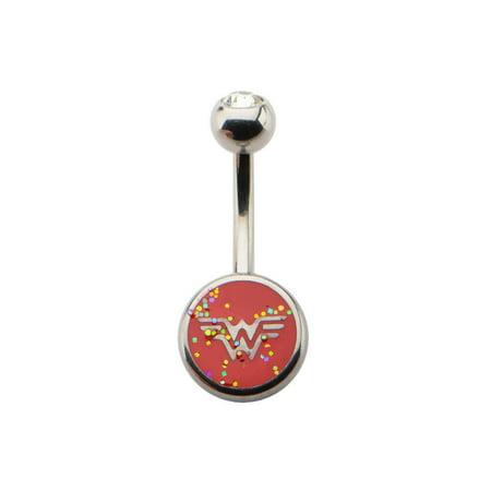 DC Comics Wonder Woman Glitter Logo Belly Button Ring