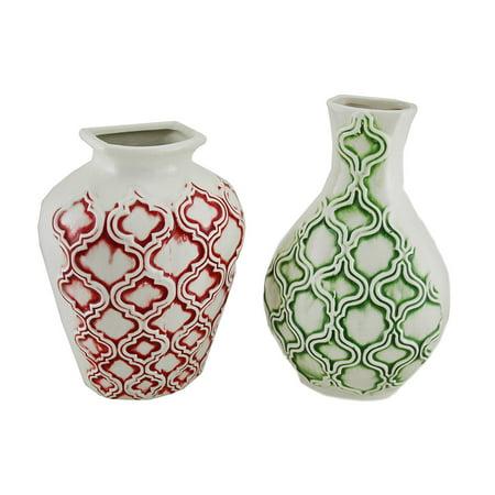 2 Pc Marrakesh Pattern Ceramic Wall Vase Set Walmart