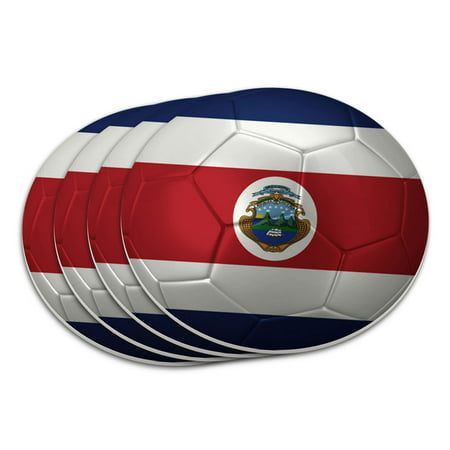 Costa Rica Flag Soccer Ball Futbol Football Coaster Set