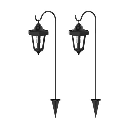 Solar Led Hanging Coach Lanterns Black Set Of 2 By Pure Garden