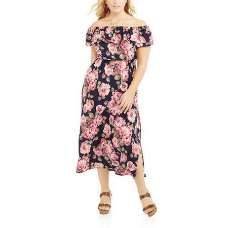 The Miss Group - Women s Plus Off Shoulder Ruffle Top Maxi Dress ... e50278ecb