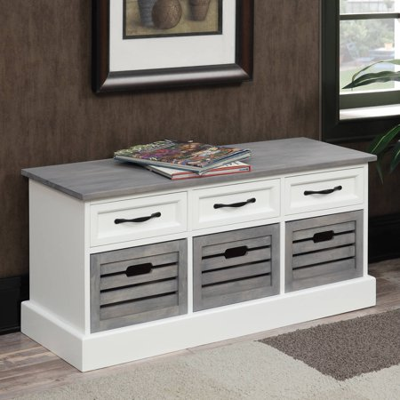 Coaster Company Storage Bench Weathered Grey And White