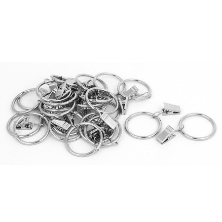Unique Bargains 32mm Inner Dia Curtain Drapery Hanging Rings Clips Silver Tone 24 Sets - image 2 de 2