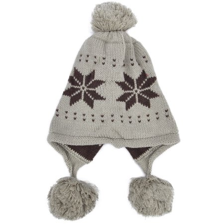 Women's Knit Ear Flap Winter Hat Beanies with (Fold Down Earflaps)