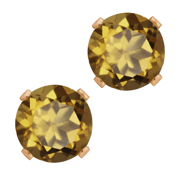 2.50 Ct Round Shape Whiskey Quartz Rose Gold Plated Silver Stud Earrings