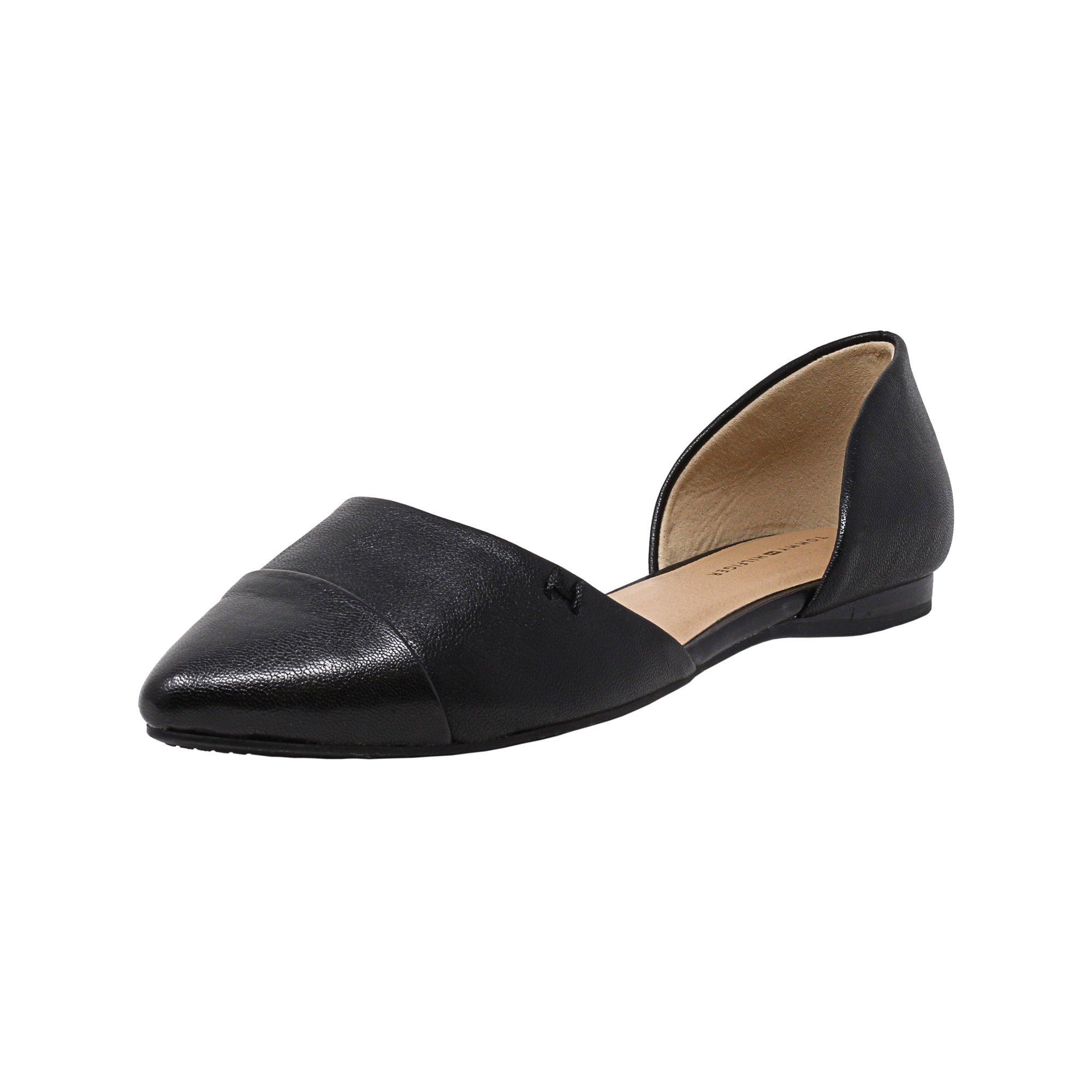 1adb4609 Tommy Hilfiger Women's Naree3 Leather Black Flat Shoe - 6M | Walmart Canada