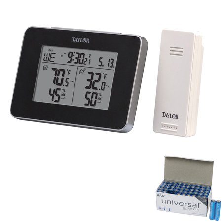 Taylor Precision Products 1731 Wireless Indoor And Outdoor Weather Station With Hygrometer & UPG AAA 50 Pack