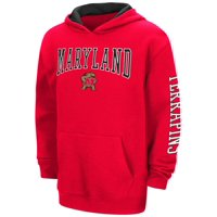 """Maryland Terrapins NCAA """"End Zone"""" Pullover Hooded Youth Sweatshirt - Red"""