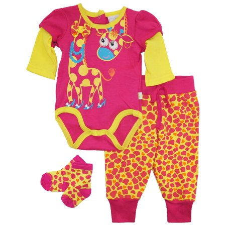 Duck Goose Baby Girls Lady Giraffe Bodysuit Terry Pant and Socks 3Pc Gift Set