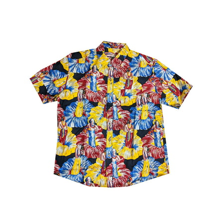 Vintage Retro Style 1950s Summer Hawaiian Men's Slim Fit Button Up Shirt (L) W63 - 1950s Hairstyles Mens