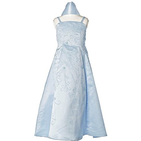 BNY Corner Satin A-line Dress with Flower Beads for Flower Girl & Big Girl Baby Blue 10 HC1082