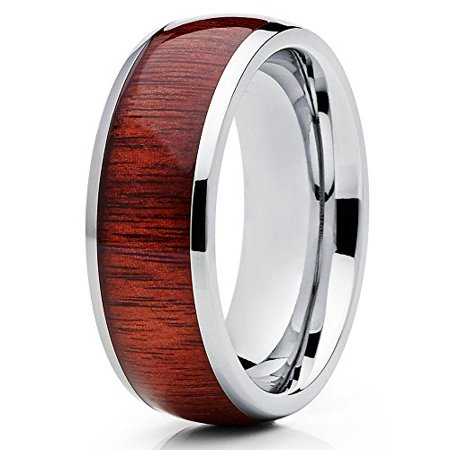 Silly Kings 8mm Titanium Wedding Ring Koa Wood Contemporary Design Unisex Mens Womens Comfort Fit Band