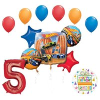 Mayflower Products Hot Wheels Party Supplies 5th Birthday Balloon Bouquet Decorations