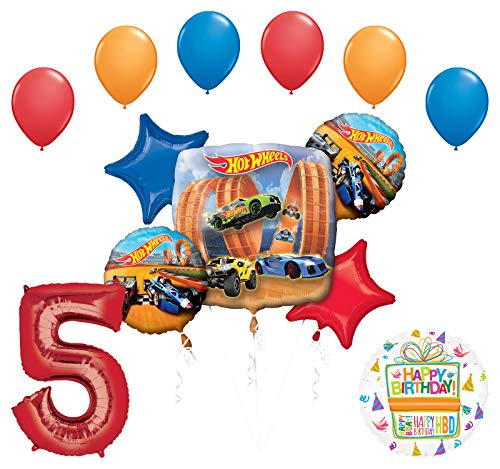 Mayflower Products Hot Wheels Party Supplies 5th Birthday Balloon Bouquet Decorations - Hot Wheel Birthday Party