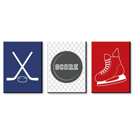 Sports Theme Decor (Shoots and Scores! - Hockey - Sports Themed Nursery Wall Art, Kids Room Decor and Game Room Home Decorations - 7.5 x 10 inches - Set of 3)