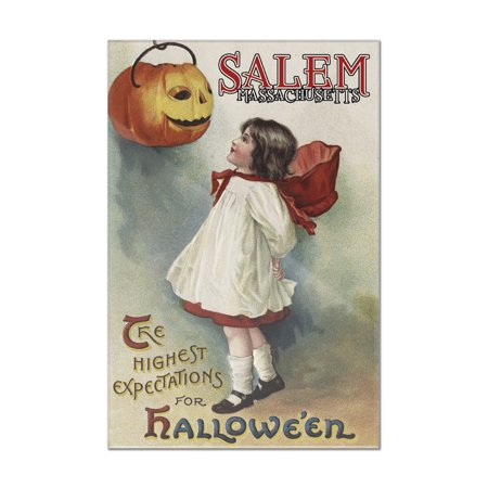 Salem, Massachusetts - Halloween Greeting - Girl in Red and White - Vintage Artwork (8x12 Acrylic Wall Art Gallery - Halloween In Massachusetts