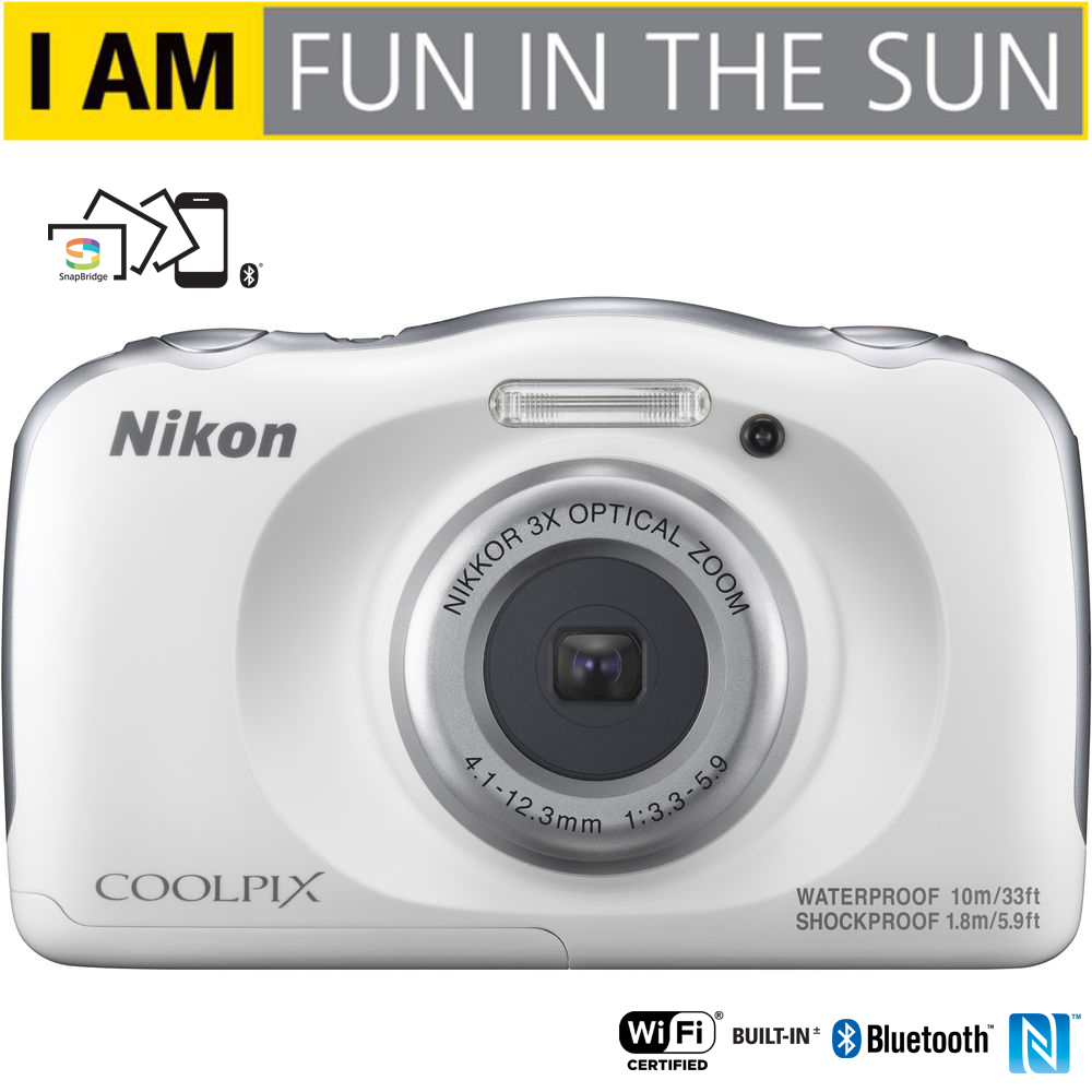 Nikon COOLPIX W100 13.2MP 1080P Digital Camera w/ 3x Zoom Lens, WiFi, SnapBridge, White (26515B) - (Certified Refurbished)