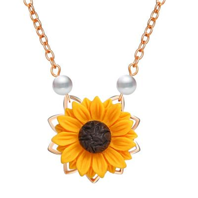 Alexandrite Lab - TURNTABLE LAB Sunflower Pearl Leaf Chain Resin Boho Handmade Drop Pendant Choker Necklace Plated Gold/Rose Gold/Silver