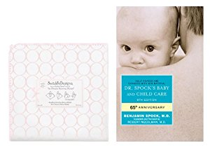 SwaddleDesigns Ultimate Receiving Blanket with Dr. Spock's Baby & Child Care Guide, Mod Circles on White  ... by SwaddleDesigns