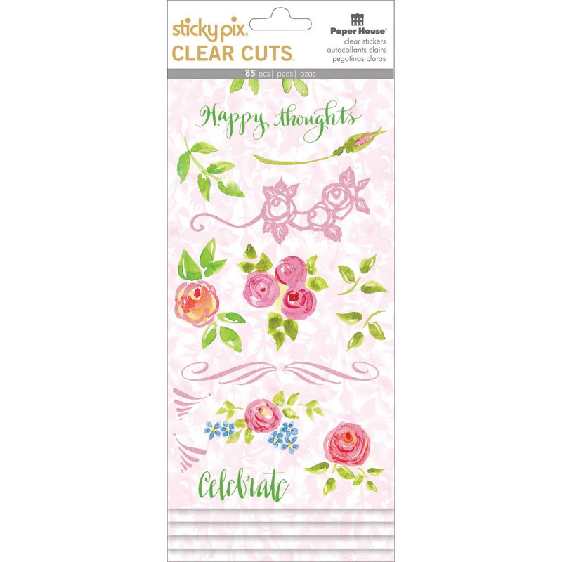 Paper House Sticky Pix Clear Cuts Stickers 5/pkg-happy Thoughts