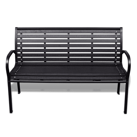 Anself 3-Seater Outdoor Patio Garden Bench Porch Chair Seat with Steel Frame Solid Construction 49